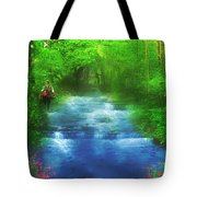 Hiking At The Rivers Edge Tote Bag