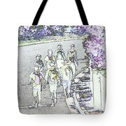 Hiking Down The Street I  Painterly Glowing Edges Invert  Tote Bag