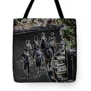 Hiking Down The Street II  Painterly Glowing Edges  Tote Bag