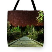 Hiking Into The Night Adirondack Log Keene Valley Ny New York Tote Bag