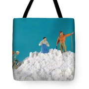 Hiking On Flour Snow Mountain Tote Bag by Paul Ge