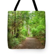 Hiking Trail Through Forest Along Lewis And Clark River Tote Bag