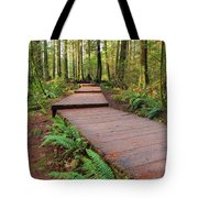 Hiking Trail Wood Walkway In Lynn Canyon Park Tote Bag