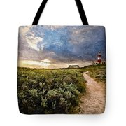 Hill Road To A Lighthouse H A Tote Bag
