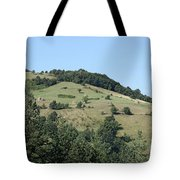 Hill With Haystack And Trees Landscape Tote Bag