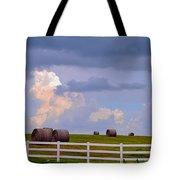 Hillside Hay Bales At Sunset Tote Bag