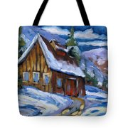 Hillsidebarn In Winter Tote Bag