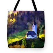 Hilltop Church In Misty Mountain Forest Tote Bag