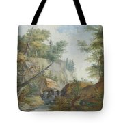Hilly Landscape With A River And Figures In The Background Tote Bag