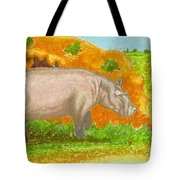 Hippo In The Savanna Tote Bag