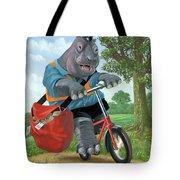Hippo Post Man On Cycle Tote Bag