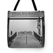 Historic Anna Maria City Pier In Fog Infrared 52 Tote Bag