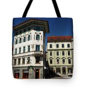 Historic Art Nouveau Buildings At Preseren Square White Tiled Ha Tote Bag