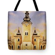 Historic Church And Town Square, Graphic Work From Painting. Tote Bag