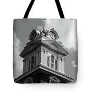 Historic Courthouse Steeple In Bw Tote Bag by Doug Camara