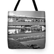 Historic Halls Mill Bridge Reflections Black And White Tote Bag