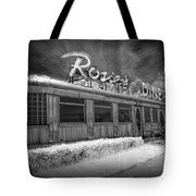 Historic Rosie's Diner In Black And White Infrared Tote Bag