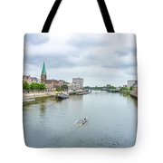 Historic Town Of Bremen And Weser River Tote Bag