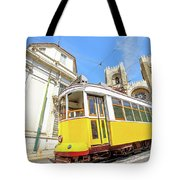Historic Tram And Lisbon Cathedral Tote Bag