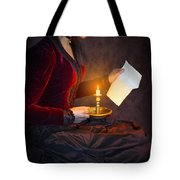 Historical Victorian Woman Reading A Letter By Candlelight Tote Bag