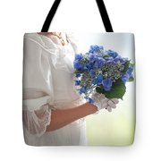 Historical Woman Holding A Bouquet Of Hydrangea  Tote Bag