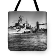 Hms Belfast And Tower Bridge 2 In Black And White Tote Bag