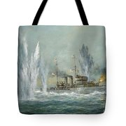 Hms Exeter Engaging In The Graf Spree At The Battle Of The River Plate Tote Bag by Richard Willis