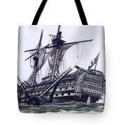 Hms Victory After The Battle Of Trafalgar, With Mizzen Topmast Shot Away Tote Bag