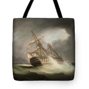 H.m.s. Victory In Full Sail And In A Squall Tote Bag