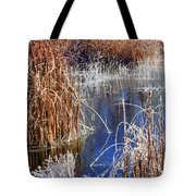 Hoar Frost On Reeds Tote Bag