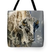 Hoarfrosted Bison In Yellowstone Tote Bag