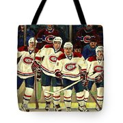 Hockey Art The Habs Fab Four Tote Bag by Carole Spandau