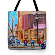 Hockey At Beautys Deli Tote Bag by Carole Spandau