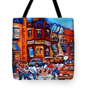 Hockey At Fairmount Bagel Tote Bag