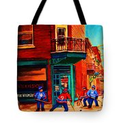 Hockey At Wilenskys Corner Tote Bag