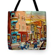 Hockey Game Fairmount And Clark Wilensky's Diner Tote Bag