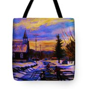 Hockey Game In The Village Tote Bag by Carole Spandau