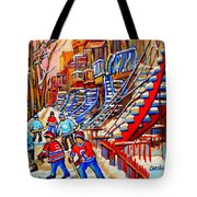 Hockey Game Near The Red Staircase Tote Bag