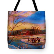 Hockey Game On Frozen Pond Tote Bag