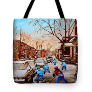 Hockey Gameon Jeanne Mance Street Montreal Tote Bag