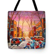Hockey On Hotel De Ville Street Tote Bag