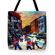 Hockey Paintings Of Montreal St Urbain Street City Scenes Tote Bag