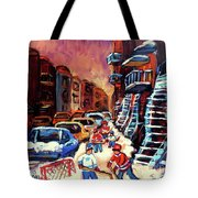 Hockey Paintings Of Montreal St Urbain Street Winterscene Tote Bag