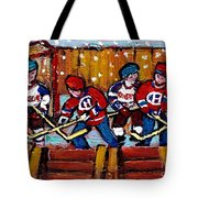 Hockey Rink Paintings New York Rangers Vs Habs Original Six Teams Hockey Winter Scene Carole Spandau Tote Bag