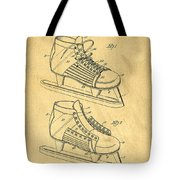 Hockey Skates Patent Art Blueprint Drawing Tote Bag