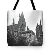 Hogwarts Castle Black And White Tote Bag
