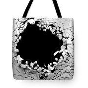 Hole On A Broken White Wall Blank Space. 3d Illustration. Tote Bag