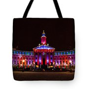 Holiday Light Panorama Of The Denver City And County Building Tote Bag