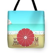 Holiday Romance Behind The Red Umbrella Tote Bag