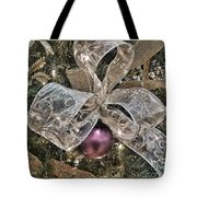 Holiday Sparkle Bow Tote Bag